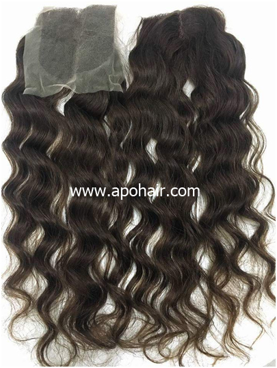 Natural Wavy Closure Browm Color